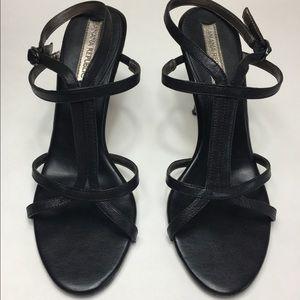 Banana Republic Black Leather Strappy Heels Sz 7